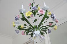 Vintage Italian Tole Chandelier...Porcelain Roses...Excellent Condition