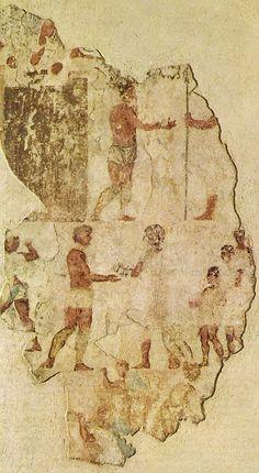 Affresco con scena storica dalla necropoli dell'Esquilino, tra le prime testimonianza di pittura su affresco romana pervenutaci.Le pitture potrebbero essere una riproduzione di quelle che adornavano il tempio di Salus eseguite, secondo le fonti, da Fabio Pittore dopo la guerra sannitica nel 304 a.C.Forse l'intento di questa rappresentazione era la glorificazione della Gens Fabia.