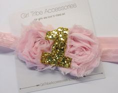 First Birthday Headband One Headband Pink by GirlTribeAccessories Pink and Gold, Cake Smash