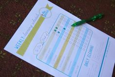 Four printable weekly cleaning schedules,