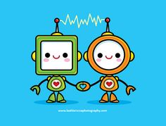 Kawaii Robots in Love by Jerrod Maruyama, via Flickr