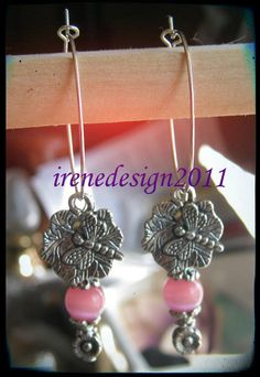 Handmade Silver Hoop Earrings with Pink Cat Eye, Dragonfly & Flower by IreneDesign2011 in my Etsy shop Do you like these earrings? I would love to know, thank you :-D Wish you a pleasent day Ir...