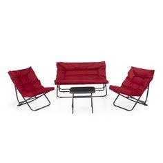 Salon de jardin bas 5 places canapé d\'angle + table basse en ...