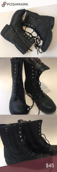 Lace-up Combat Moto Boots Welcome to my closet!! 😊 Awesome Boots  Multiple ways to wear!!  Lace-up Combat Moto Style  Size 9.5 (true to size)  Printed inside lining  Distressed by design  Gunmetal black - Great color for the Boots by the way!  Excellent condition !!! barely worn Fast Shipping✨✨✨🚢 American Rag Shoes Combat & Moto Boots