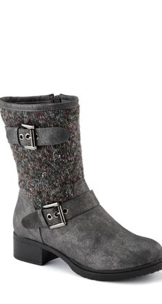 "We love the knit texture in these grey Relativity® ""Savvy"" Casual Boots"
