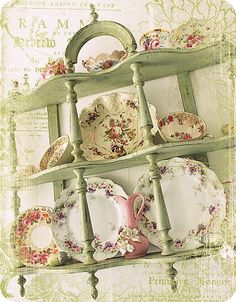 I was thrilled to find a wall unit like this at the local thrift store recently. Loved the shelf immediately and bought it before someone else did. I just need to paint mine this lovely shabby chic green. - MRW