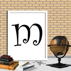 Letters m Print Letters m Digital Monogram Print Initial Print Digital Quote Print Digital Typography Art Wall Decor Poster 8X10 11x14 by sweetdownload on Etsy