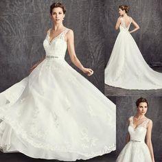 Gorgeous V-neck Sleeveless Long A-line White Lace Wedding Dresses, WD0187