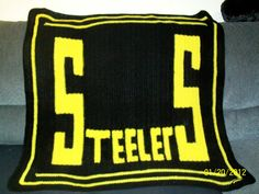 Football Throw, Team blanket, Black and Gold, Steelers inspired by dnjcrafts on Etsy
