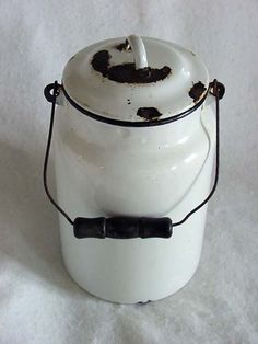 Vintage Enamel Cream / Milk Can.. Original Old Dairy Item. $40.00, via Etsy.