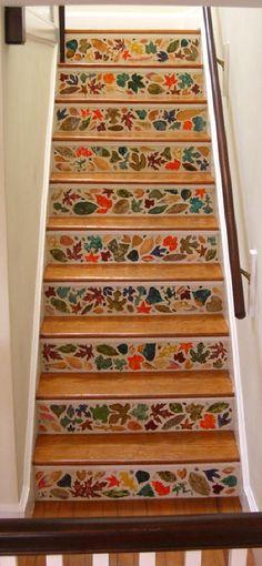 leaf tile stair risers, tiled stair risers