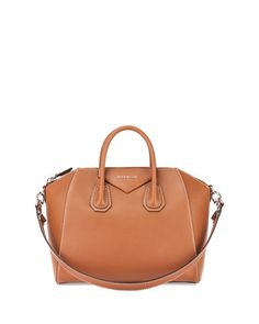 Antigona Medium Smooth Leather Satchel Bag, Camel by Givenchy at Neiman Marcus.