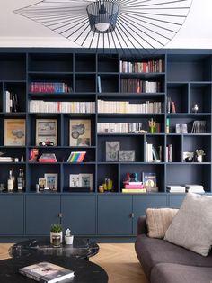 Living Room Built Ins, Living Room Wall Units, Living Room Shelves, Home Living Room, Living Room Designs, Living Room Decor, Home Library Rooms, Home Library Design, Home Office Design