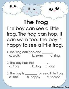 First Grade Reading Comprehension, Phonics Reading, Reading Comprehension Worksheets, Reading Passages, Teaching Reading, Comprehension Questions, Reading Response, Learning English For Kids, English Lessons For Kids