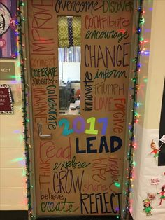 Definitely want to do this to my classroom door! Maybe the back side so when it's closed during class students in the halls can see it.