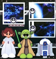 2 12x12 premade scrapbook pages. - Star Wars -. Adorable 3D art has been printed, hand cut, and made 3d with foam squares. Acid Free Papers! | eBay!
