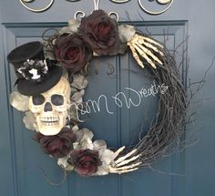 Spooky Skeleton and Top Hat Wreath. Halloween wreath. Fall wreath. **LIMITED QUANTITY**