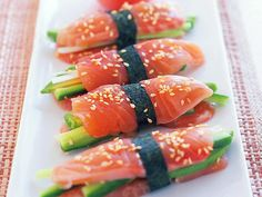 Wonderfully fresh and light, enjoy these beautiful salmon sashimi stacks as a light lunch, starter on canape.
