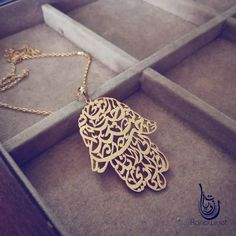 The most intricate in style for pendants on offer is definitely this piece. It is customizable with Arabic calligraphy lettering of the names / words of choice, in a beautiful Hand of Fatima shape. Metal base options are brass or Sterling silver. Bird Jewelry, Jewelery, Unique Jewelry, Jewelry Ideas, Arabic Jewelry, Gold Jewellery, Hand Of Fatima, Selling Jewelry, Fashion Styles