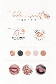 Rose Gold Branding Kit Makeup Artist Mini Branding Kit Artist Branding, Branding Kit, Lip Logo, Makeup Artist Logo, Casual Makeup, Gold Lips, Custom Logo Design, Diy Design, Design Ideas