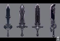 Sword [] by Mingzhu Yang, Wuhan Fantasy Sword, Fantasy Weapons, Fantasy Art, Character Design Sketches, Character Design Girl, Sci Fi Weapons, Weapon Concept Art, Sword Design, Futuristic City