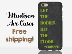 Let The Bodies Hit The Floor Crossfit Chalkboard Gym Workout Guy's Mens Trainer Gift Green Samsung Galaxy Edge S5 S6 S7 iPhone SE 4 5 6 Case