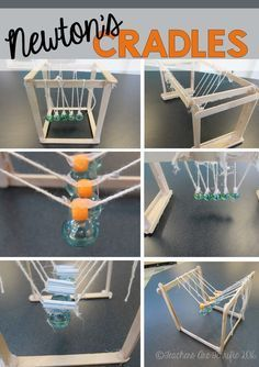 Great for Chem-phys! STEM Challenge: Learn about Newton's Law of Motion and then build a device to prove it! Here's a fabulous challenge to build a Newton's Cradle! Stem Science, Science Fair, Teaching Science, Science For Kids, Physical Science, Science Classroom, Earth Science, Science Guy, Forensic Science