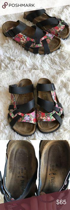 370fd3bb70d Birkenstock Papillio Pisa Floral Black Sandals Narrow fit. Size 38. No  tears. Euc