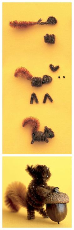 Creative Squirrel Crafts for Kids - Craftionary Pipe cleaner squirrel craft Pipe Cleaner Projects, Pipe Cleaner Art, Pipe Cleaner Animals, Pipe Cleaners, Projects For Kids, Crafts For Kids, Arts And Crafts, Crafts To Make, Diy Crafts