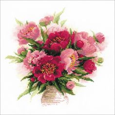 "Peonies In A Vase Counted Cross Stitch Kit-15.75""X15.75"" 10 Count"