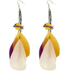 Los Angeles Lakers Ladies Fan Feather Earrings NEED THIS IN MY LIFE <3