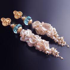 RESERVED - Keishi Pearl Tassel Earrings with Aqua Quartz. $90.00, via Etsy.