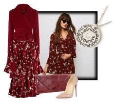"""Marsala Wine"" by shoppe23online ❤ liked on Polyvore featuring American Eagle Outfitters, Christian Louboutin and bellsleevedress"
