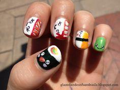 Cartoon Sushi Nail Art