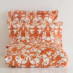 ORANGE SATIN BED LINEN
