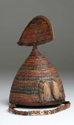 Africa | Hat / headgear from the Lega people of DR Congo | Vegetal fiber, shells and buttons