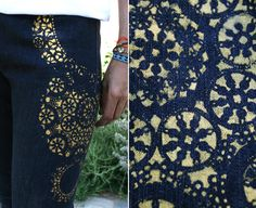 how to for printed doily jeans. @Sara Nedroscik you need to look at the website that this is on. i feel like you would appreciate it like i do. also, we should just share a pinterest account.