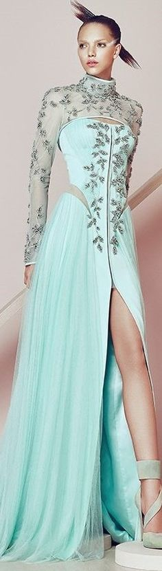 Basil Soda ~ Couture Aqua Sequin Embroidered Gown w Deep Front Slit 2015