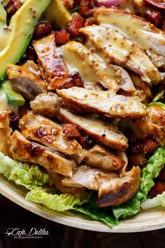 Honey Mustard Chicken, Avocado + Bacon Salad | http://cafedelites.com