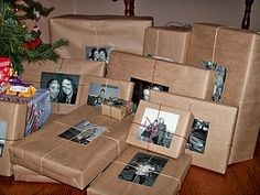 put pictures of who the present belongs to on the present. Fun idea for Christmas gifts around the tree!