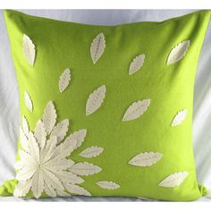 Design Accents Felt Applique Flower Pillow in Green - SL 28884-Green