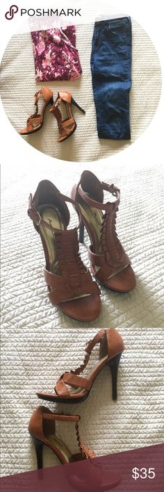 •Brown Ankle Strap Heels• Only worn once. Brown ankle strap heels with rouching. Anne Michelle Shoes Heels