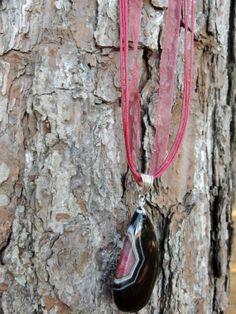 Stunning Druzy Geode Agate Teardrop Gemstone Necklace by TheseVagabondShoes, $16.00