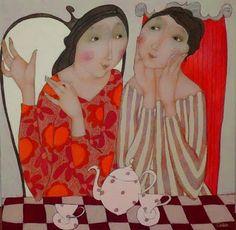 Cecile Veilhan and Her Women Woman Painting, Figure Painting, Art Fantaisiste, Cecile, Tea Art, Naive Art, Whimsical Art, Art Plastique, Contemporary Artists