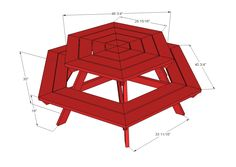 Free plans to build a hexagon shaped picnic table. Features six large bench seats and hexagon top, updating the casual classic into a more user-friendly backyard fav! Octagon Picnic Table Plans, Round Picnic Table, Picnic Table Bench, Octagon Table, Do It Yourself Furniture, Diy Furniture Plans, Diy Outdoor Furniture, Cheap Furniture, Kids Picnic