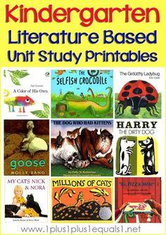 Kindergarten Literature Unit Printables