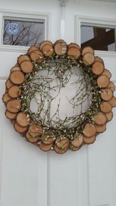 Spring wreath made from wood slices