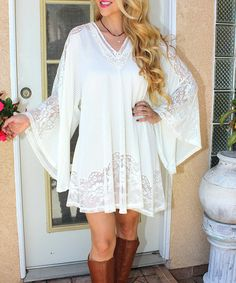 Rodeo Fox Ivory Crochet Bell-Sleeve Athena Dress | zulily