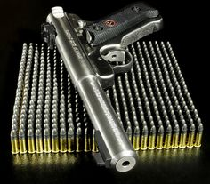 Ruger Mk II Pistol; one fine .22 auto. And an impressive balance on the bullets. If I did that It'd fall for sure.