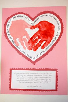@Angela Miller (cute for grandparents when they come!!) Kindergarten craft - heart with hand prints inside.